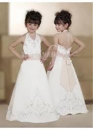 robe mariage enfants robe cortège enfant nœud papillon broderie satin bretelle au cou