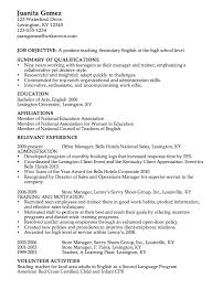 Good Job Objectives For A Resume by Resume For A High English Teacher Susan Ireland Resumes