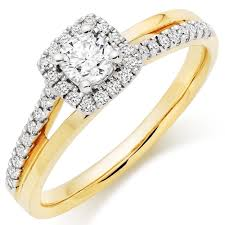 18ct gold diamond halo ring 0100727 beaverbrooks the jewellers