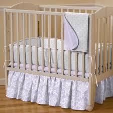 Small Crib Bedding Bedding For Portable Crib 5 Lilac And Silver Gray Damask Mini