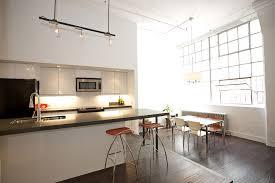 loft bright interior design of loft kitchen and dining area in
