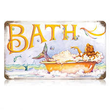 bath mermaid vintage painting metal sign vintage bathroom signs