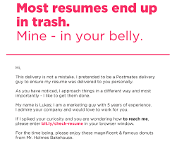 Linkedin Profile In Resume Man Hands In Cv To Employers Disguised As Doughnut Delivery