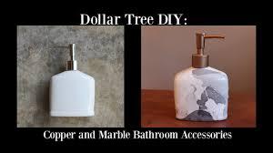 dollar tree diy copper u0026 marble bathroom accessories youtube