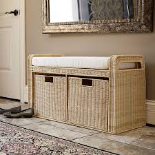 amazon com household essentials woven rattan storage bench 19