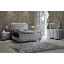 Meridian Bedroom Furniture by Hudson Grey Velvet Sleigh Bed Multiple Sizes By Meridian