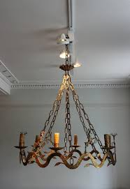 Chandelier Metal Outstanding 1950s Six Arm Gilded Metal Chandelier With
