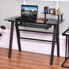 Glass Top Computer Desks For Home Tempered Glass Top Steel Frame Computer Desk Free Shipping Today