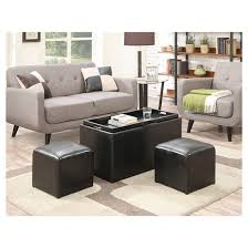 sheridan storage bench with 2 side ottomans black convenience