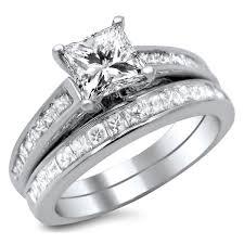 diamond bridal sets noori 14k white gold 1 3 4ct princess cut diamond bridal set