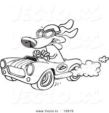 vector of a cartoon dog racing a rod outlined coloring page