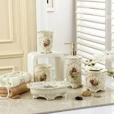 Porcelain Bathroom Accessories Sets Fancy Romantic Colorful Flowers Print Decorative Ivory Porcelain