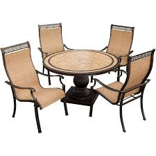 Round Stone Patio Table by Monaco 5 Piece Dining Set With 9 Ft Table Umbrella Monaco5pc Su
