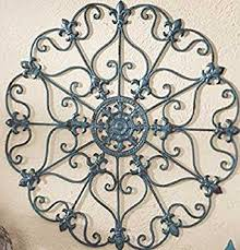 teal finish iron metal wall medallion decor indoor