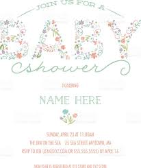 baby shower invitation template invite with floral design stock