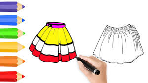coloring pages skirts for girls u0026 drawing for children how to