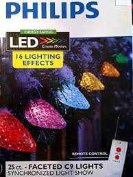 25ct multi led faceted c9 string lights w remote