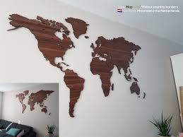 World Map Wood Wall Art by World Map Walnut Mapawall Com