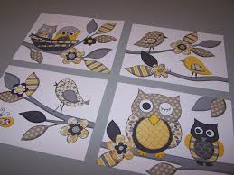 Yellow Baby Room by Baby Nursery Art Decor Yellow Gray Owls Birds Kids Art Set Four