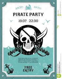 pirate party pirate party announcement poster with skull stock vector image