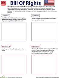Bill Of Rights Worksheet Answers Illustrate The Bill Of Rights Worksheet Education Com