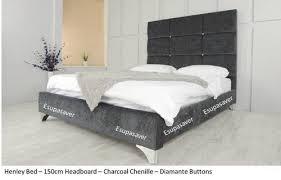 Suede Bed Frame Henley Bed Frame Available In Crush Velvet Chenille Linen Or