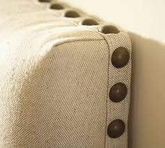 Upholstered Nailhead Headboard by Raleigh Upholstered Nailhead Square Bed U0026 Headboard Pottery Barn