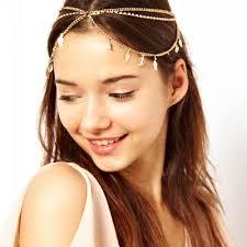 forehead bands fashion womens rhinestone metal chain headband headpiece