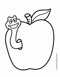 simple coloring pages apple cut fruits simple for kids