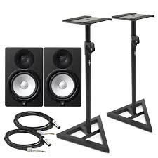 Studio Monitor Desk Stands by Yamaha Hs8 Active Studio Monitors Pair With Stands And Cables At
