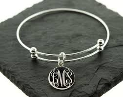 bangle charm bracelet sterling silver images Charm bangle etsy jpg
