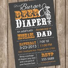 burgers and beer diaper baby shower invitation grey and orange