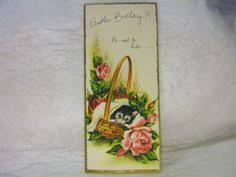 vintage charm craft birthday card cat and butterfly kitten 1960 u0027s