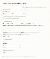 musical instrument bill of sale form printable free rc123 com