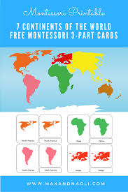 free montessori printable 7 continents of the world 3 part