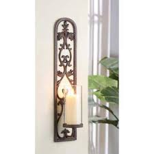 Joselyn Candle Wall Sconce Tuscan Decor Alhambra Iron Wall Sconce Candle Holder Intended For