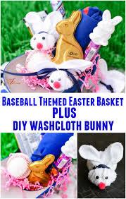 Baseball Gift Basket Baseball Themed Easter Basket And Diy Washcloth Bunny An Alli Event