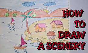 drawing colourful easy landscape drawing for kids scenery for kids