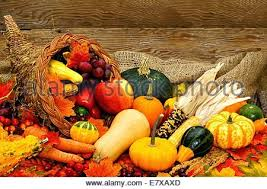 harvest or thanksgiving cornucopia filled with vegetables on a