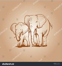 sepia vector sketch elephants logo label elephant stock vector