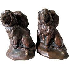 bookends lion antique lion the mouse aesop s fable bookends