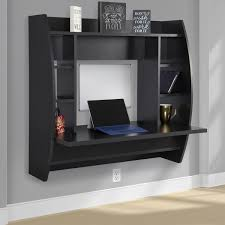 Wall Mount Laptop Desk by Glossy Black Painted Pine Wood Wall Laptop Desk With Shelves Of