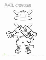 mailman hat coloring page mailman paper doll paper dolls printable worksheets and dolls
