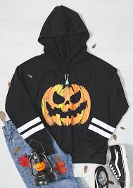 halloween pumpkin striped drawstring hoodie fairyseason