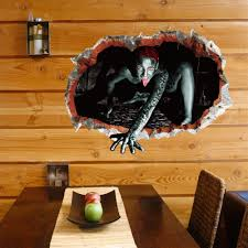 online shop 3d hole view halloween scary wall sticker mural poster