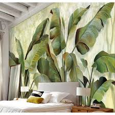 shinehome banana leaf wallpaper background 3d nature photo