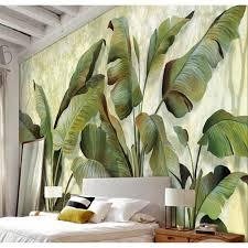 Livingroom Wallpaper Shinehome Banana Leaf Wallpaper Background 3d Nature Photo