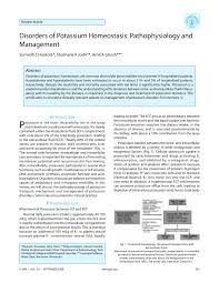 disorders of potassium homeostasis pathophysiology and management