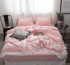 light pink and white bedding 100 cotton 4pcs fancy light pink bedding sets with delicate white