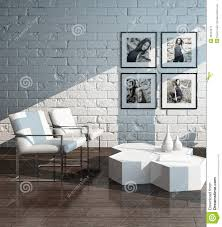 minimalist living room interior with white brick wall stock